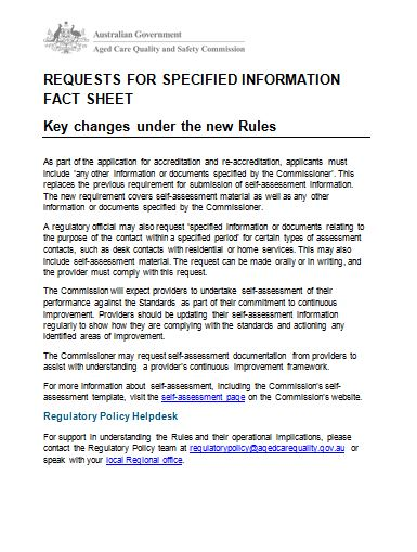 Request for specified information key changes fact sheet image