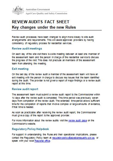 review audits key changes fact sheet image