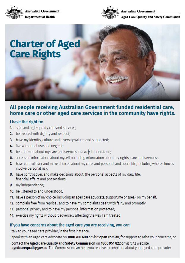 Charter of Aged Care Rights 2019 POSTER