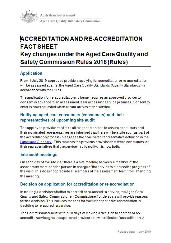 cover image of accreditation and re-accreditation key changes fact sheet