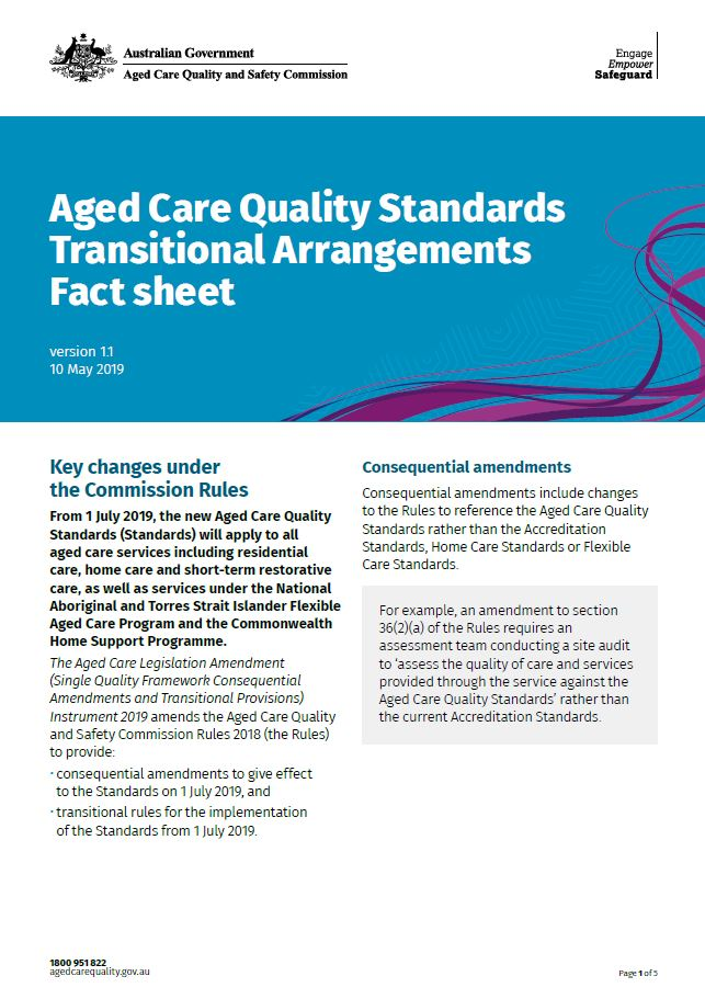 Cover Image Transitional Arrangements Fact Sheet - Aged Care Quality Standards - Branded