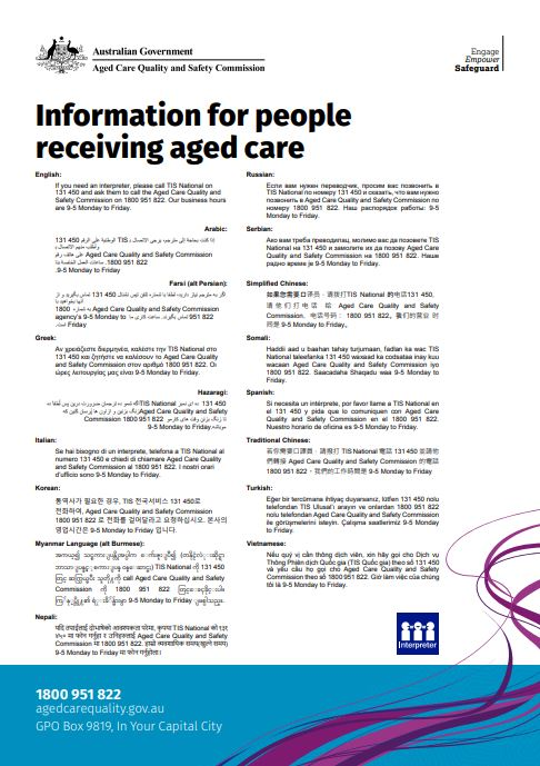 Cover image translated information for people receiving aged care