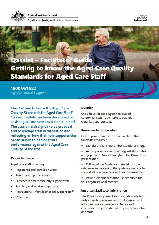 Cover Image Education QAssist Getting To Know The Standards For Aged Care Staff