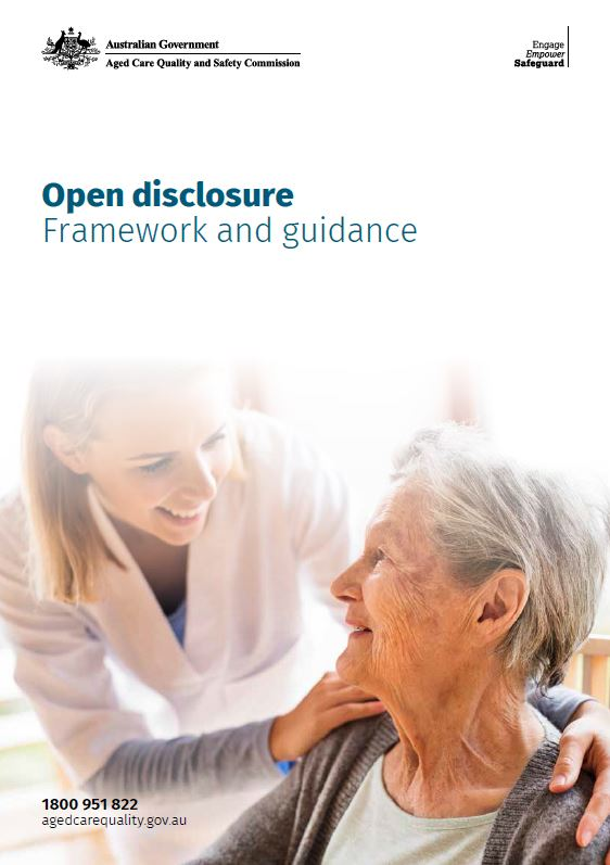 cover image of open disclosure framework and guidance PDF