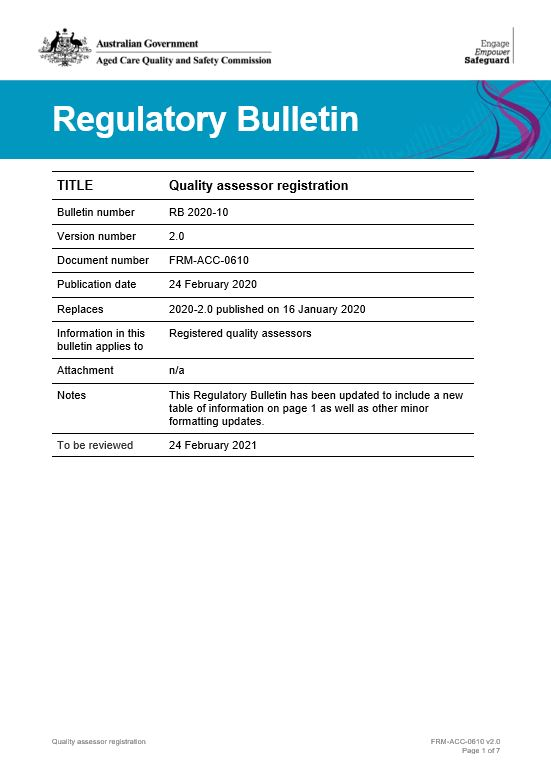 Regulatory Bulletin 2020-10 cover image