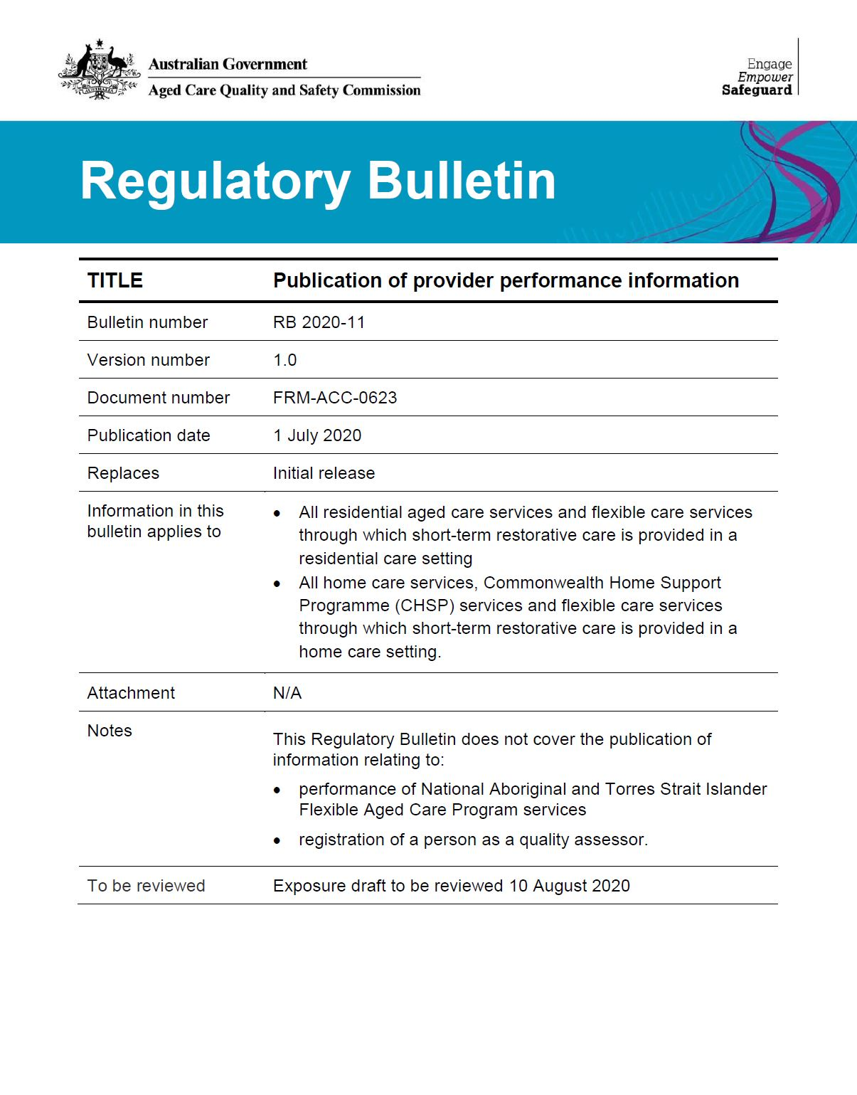 RB 2020-11 Publication of provider performance information cover image