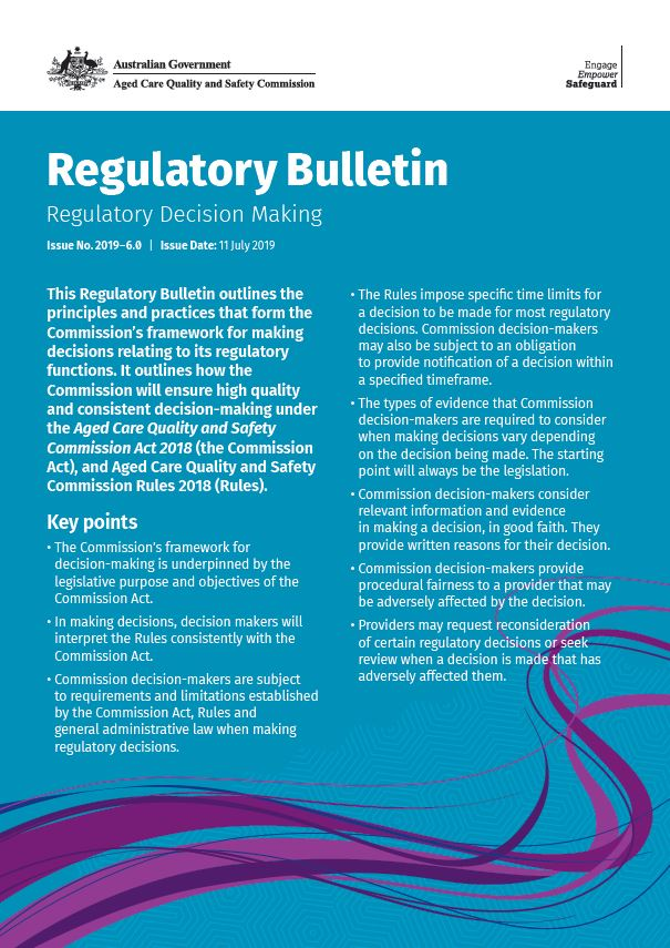 cover image regulatory bulletin 2019-6 on regulatory decision making