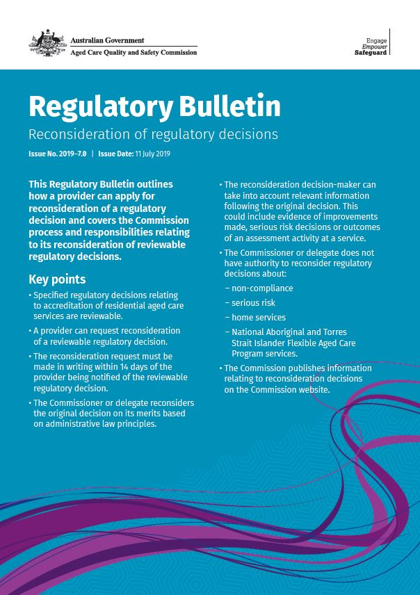 Cover image of regulatory bulletin 2019-7 reconsideration of regulatory decisions